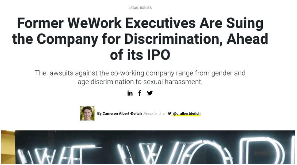 WeWork Discrimination