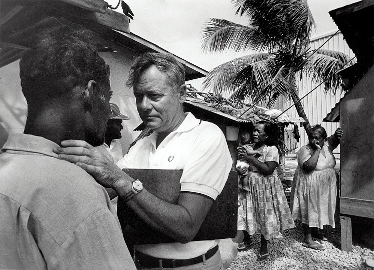 Medical team conducting annual medical examinations of Marshallese people who were exposed to radioactive fallout from an atmospheric nuclear weapons test in 1954.
